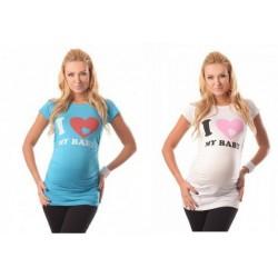 Kratka nosečniška majica I LOVE MY BABY